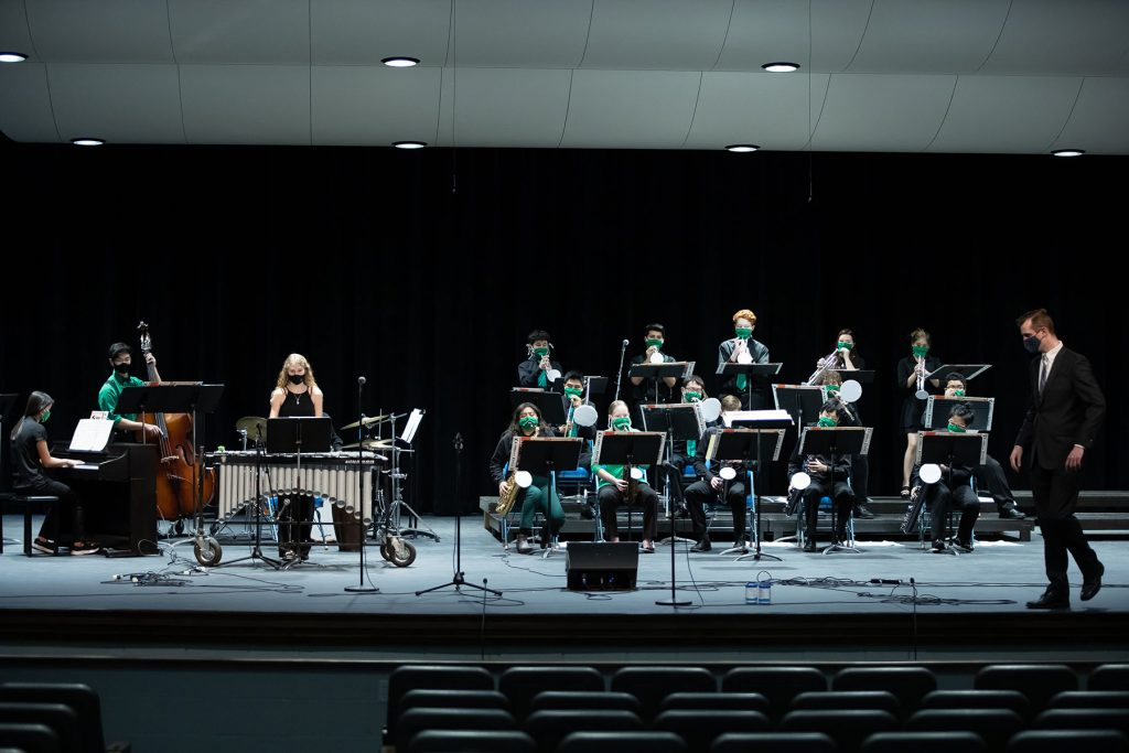 The Storm Lake Jazz Band participating in the 2021 Jazz Band Contest at Iowa Lakes. Photo provided by Dave Petrick, CPP