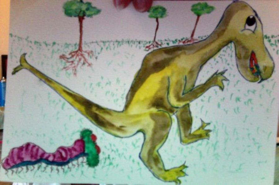 A dinosaur art created by Judy Hart, a RSVP volunteer in Dickinson County, to connect with a first grader.