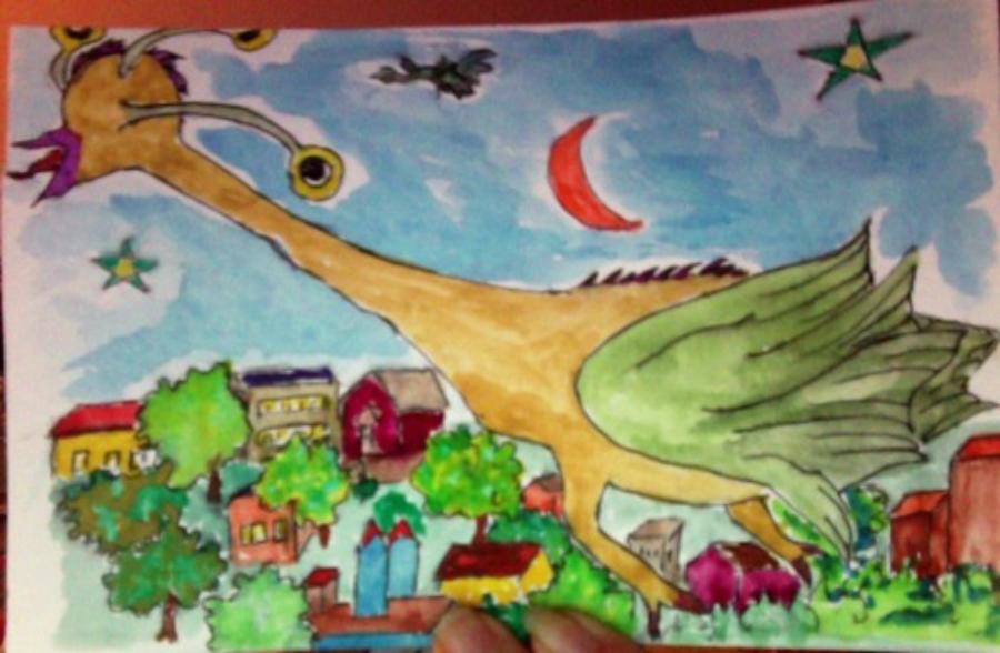 A hand-drawn dinosaur illustration sent to Okoboji Elementary School student by RSVP Volunteer Judy Hart.