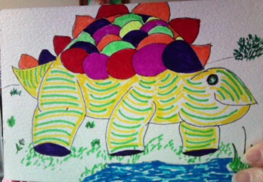 Another dinosaur drawing created by Judy Hart, RSVP volunteer, to connect with Okoboji first grader.
