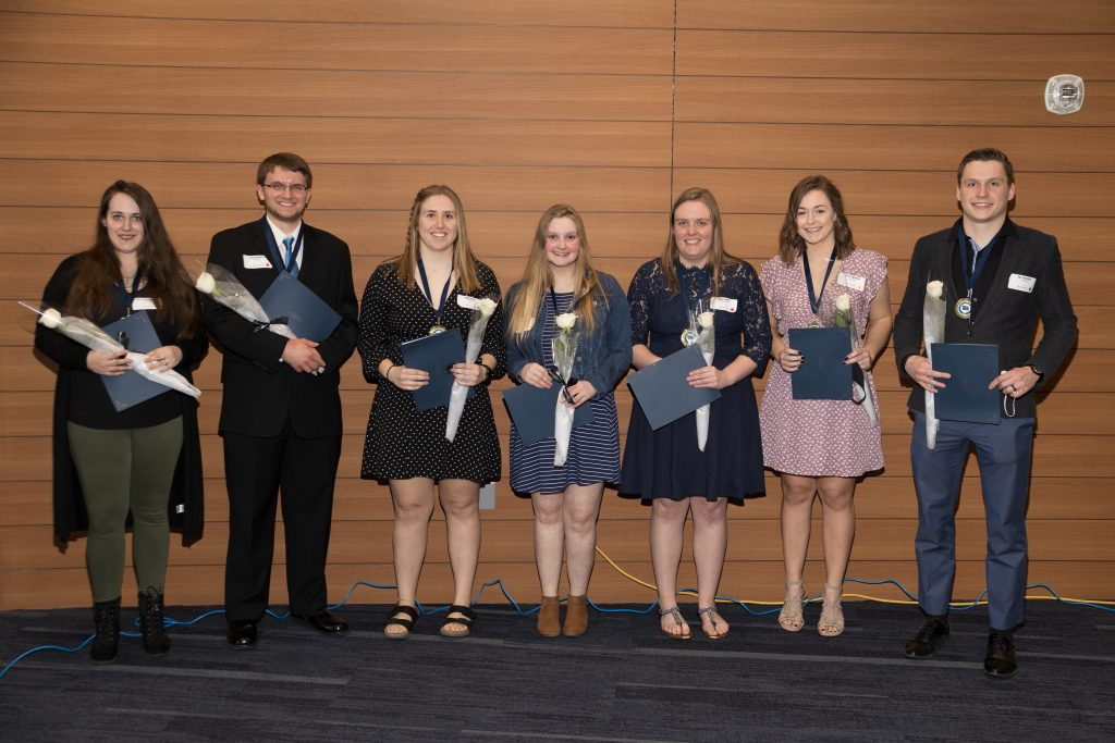 Iowa Lakes Community College 2021 All-Iowa Academic Team for Phi Theta Kappa Honor Society. In the picture from left to right are Kayla Scharnberg, Ethan Marth, Emma Kral, Brea Brendlin, Amy Bents, Kelly Winter, and Val Trussov.