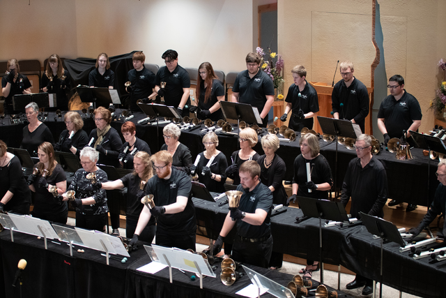 The Iowa Lakes Handbell Choir performs for first in-person event at Janice K. Lund Performing Arts center on May 2