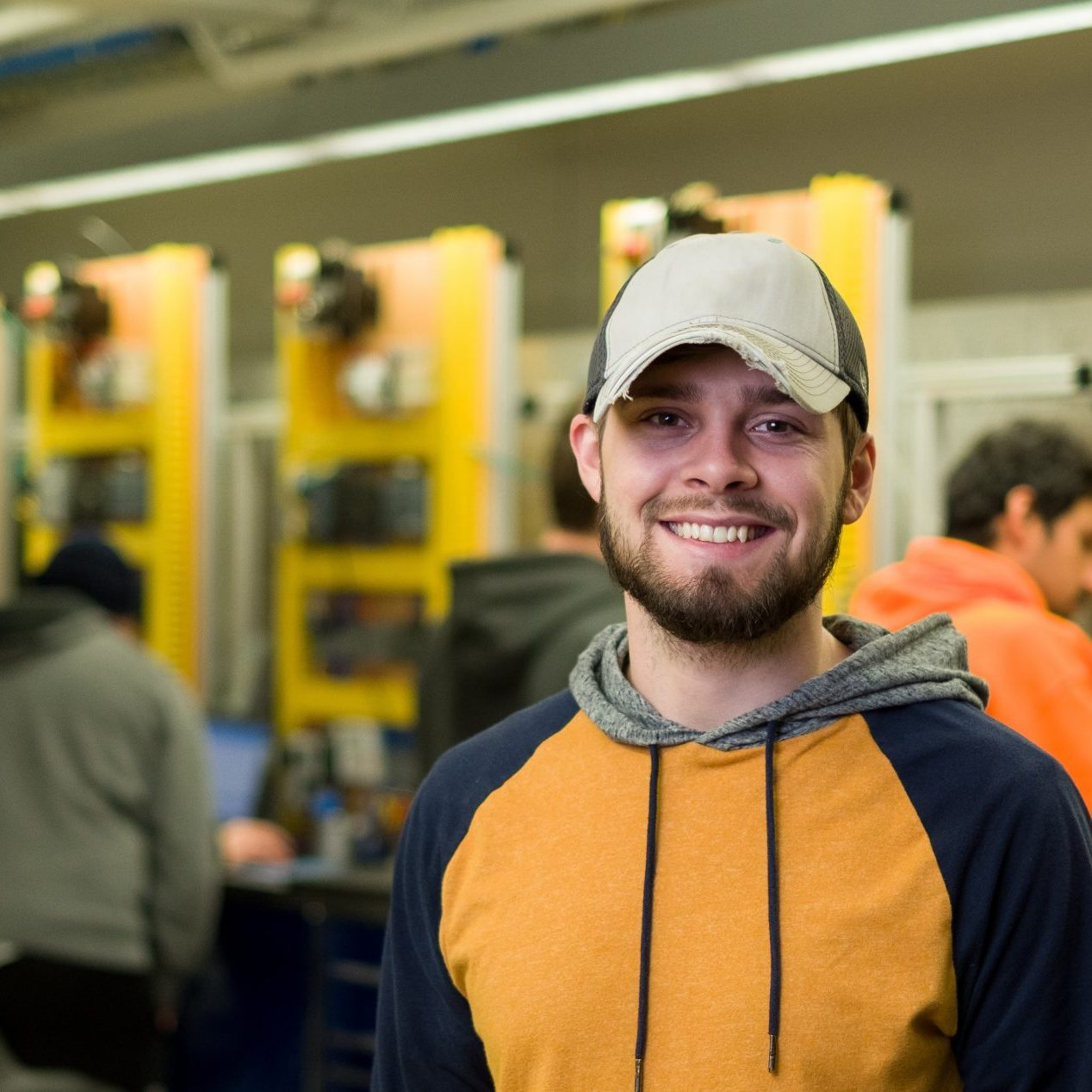 Male Engineering Technology student ready for Lab at the SERT Facility on the Estherville Campus.